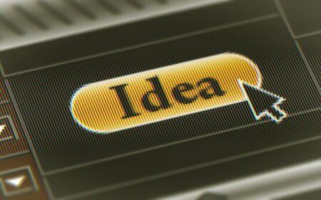 Idea button in the screen. Illustration