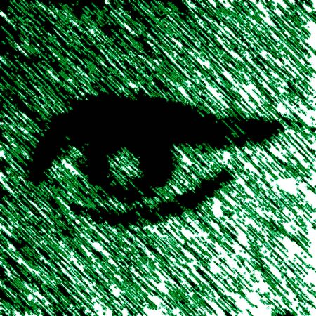 Eye icon in the green background. Illustration. Imagens