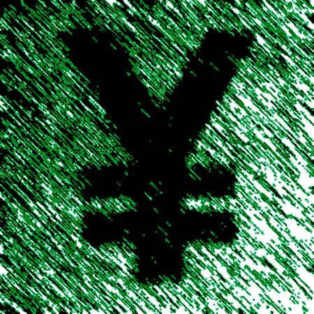 Yen in the green background. Illustration.