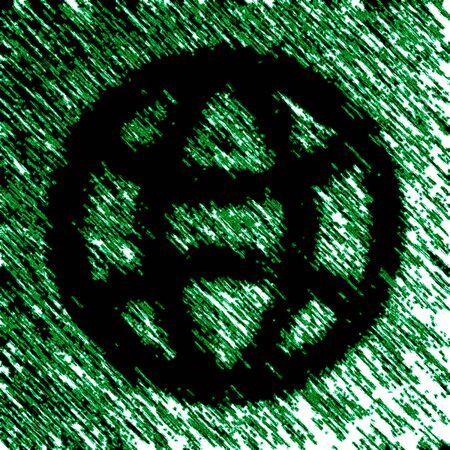 Globe icon in green background. Illustration.