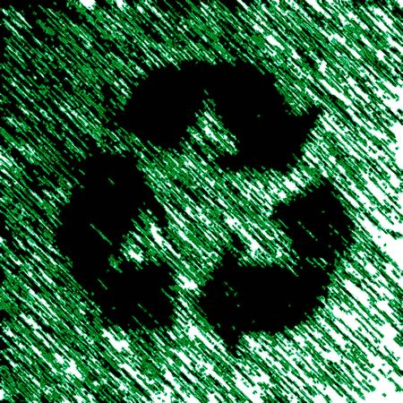 Recycle icon in green background. Illustration.