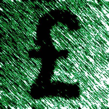 Pound icon in green background. Illustration.
