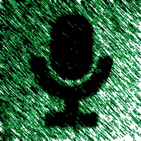 Microphone icon in green background. Illustration.