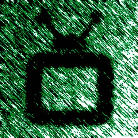 TV icon in green background. Illustration.