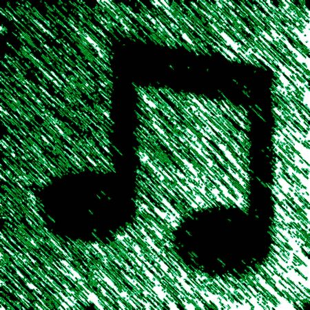 Musical note icon in green background. Illustration. Фото со стока - 131815860