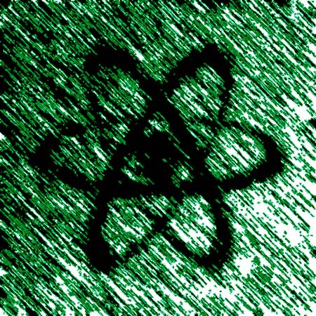 Atom icon in green background. Illustration. Stock fotó