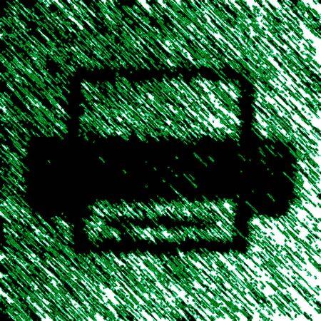 Printer icon in green background. Illustration.