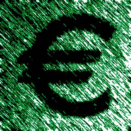 Euro icon in green background. Illustration.
