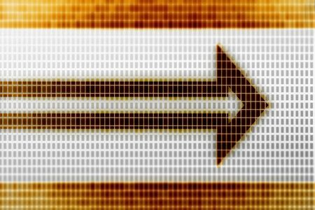 Arrow icon in the screen. Illustration.