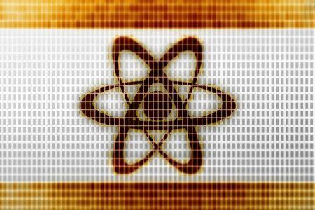 Atom icon in the screen. Illustration.