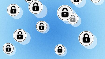 Lock icons in the blue background. Illustration. Stok Fotoğraf