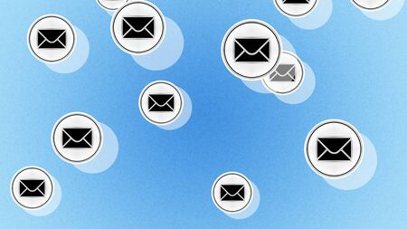 E-mail icons in the blue background. Illustration.