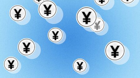 Yen icons in the blue background. Illustration.