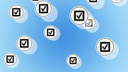 Checkbox icons in the blue background. Illustration.