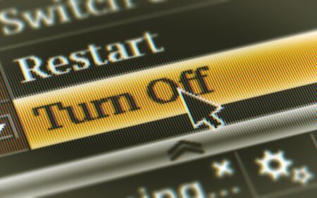 Turn Off button in the screen. Illustration.