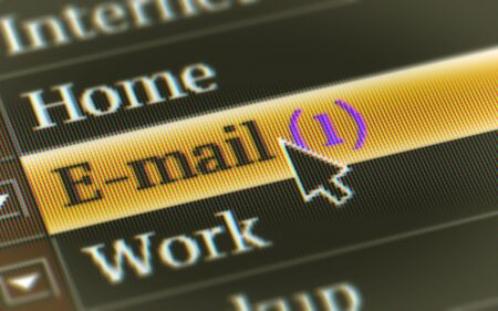 E-mail button in the screen. Illustration. Stock Photo