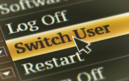 Switch User button in the screen. Illustration. Stock Photo