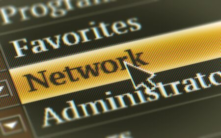 Network button in the screen. Illustration.