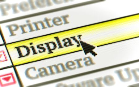 Display button in the screen. Illustration. Stockfoto