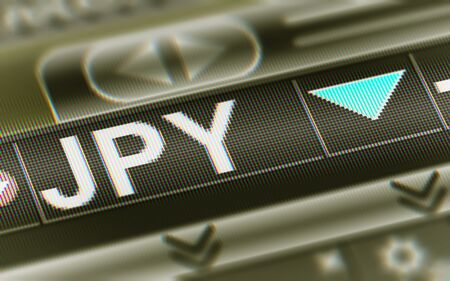 Japanese Yen in the Screen. Currency index Down. Illustration.