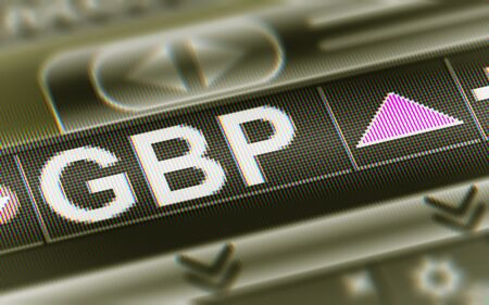 British Pound in the Screen. Currency index Up. Illustration. Banco de Imagens