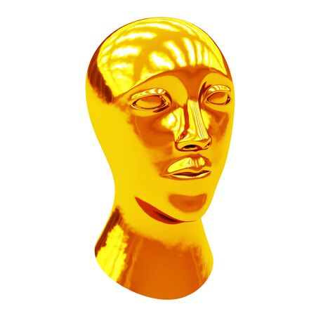 The gold head. 3D Illustration.