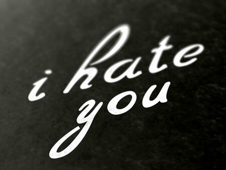 I hate you on a book of a book. Illustration.