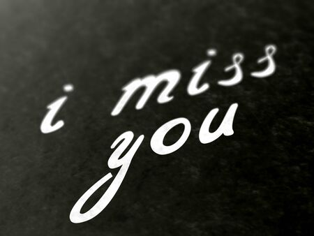 I miss you on a page of a book. Illustration. Stok Fotoğraf