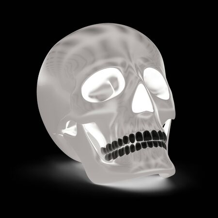 Skull in black background. 3D Illustration. Stok Fotoğraf - 131816030