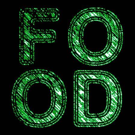 Food in black background. Illustration. Stock Photo