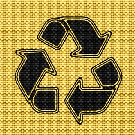 Recycle icon in Texture of Fabric. Illustration.