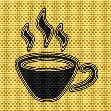 Coffee icon in Texture of Fabric. Illustration. Stok Fotoğraf