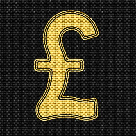Pound icon in Texture of Fabric. Illustration. 写真素材