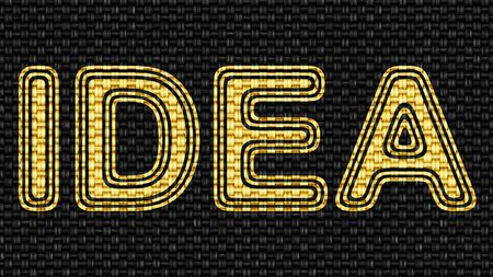 Idea icon in Texture of Fabric. Illustration.