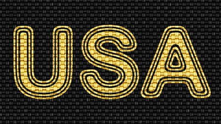 USA icon in Texture of Fabric. Illustration.