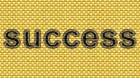 Success icon in Texture of Fabric. Illustration.