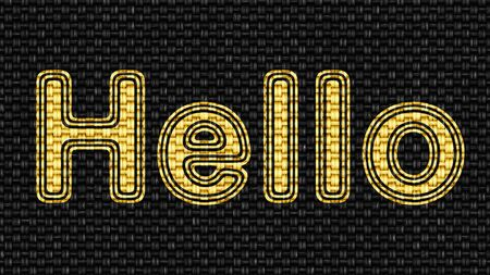 Hello in texture of fabric. Illustration.