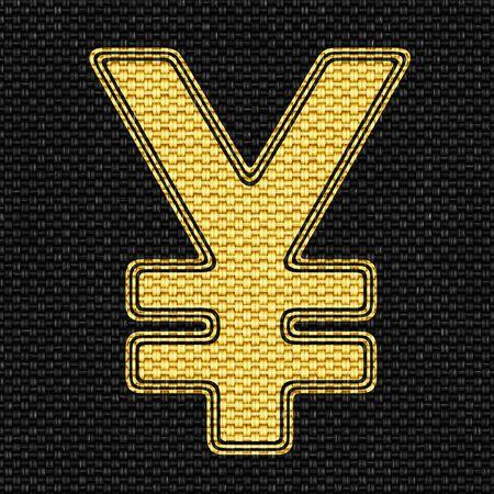 Yen icon in texture of fabric. Illustration. 版權商用圖片