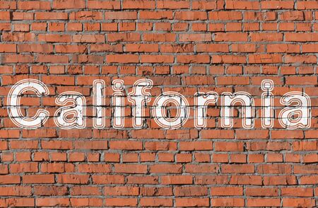 California. Word on the wall. Фото со стока