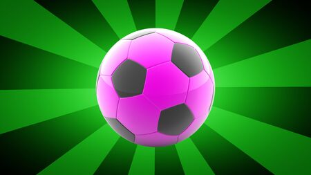Soccerball in green background. 3D Illustration.
