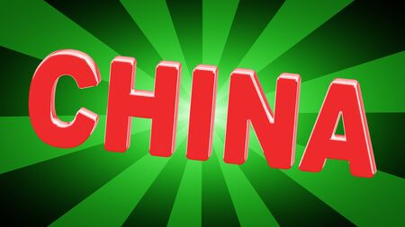 China in green background. 3D Illustration. Stockfoto