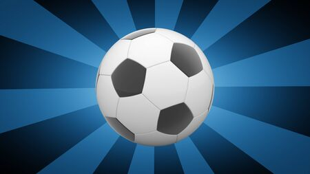 Soccerball in blue background. 3D Illustration. Imagens