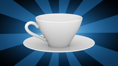 Cup in blue background. 3D Illustration.