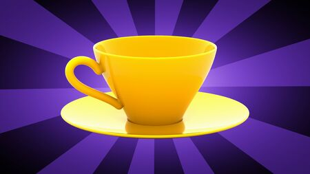 Cup in purple background. 3D Illustration. 写真素材