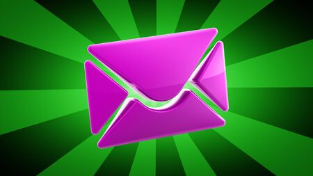 E-mail icon in green background. 3D Illustration.