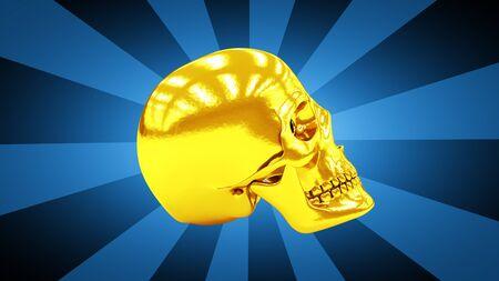 Skull in blue background. 3D Illustration.