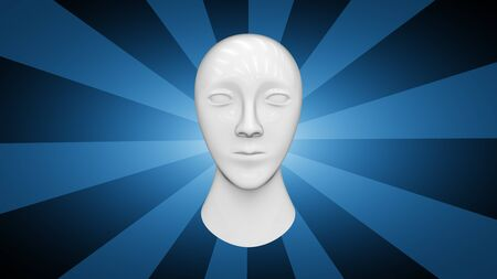 Head in blue background. 3D Illustration.