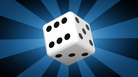 Dice in blue background. 3D Illustration. Фото со стока