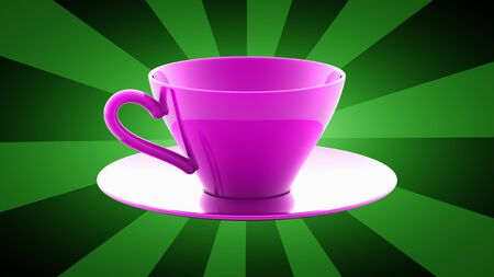 Cup in green background. 3D Illustration.