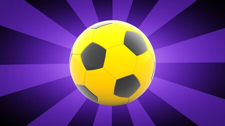 Soccerball in purple background. 3D Illustration.